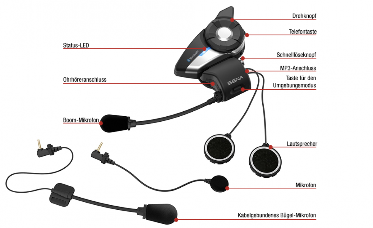 Sena 20S Evo Motorrad Bluetooth-Kommunikation System Single Pack ...